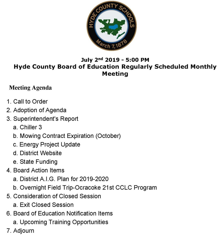 Board of Education Meeting Agenda for July 2nd 2019 Meeting